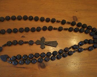 Vintage, large olive wood Rosary, 47 in Rare! *