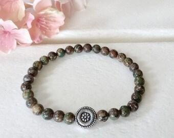 Ocean Jasper Bracelet, 6mm beaded bracelet