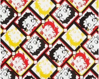 """Classic Cartoon Fabric - Camelot Betty Boop - Betty Boop Tiles 100% cotton 44"""" Fabric by the yard 36"""", N127"""