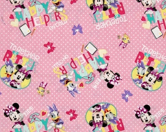 Disney Fabric - Disney Minnie Pink Happy Helpers On Call! 63723 100% Cotton fabric by the yard, SC106