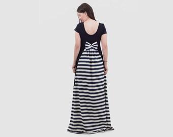 Cotton Navy Blue Women dress /short sleeves long dress/ dress with tail/ blue stripes tail dress/ women dress with bow/cotton summer dress