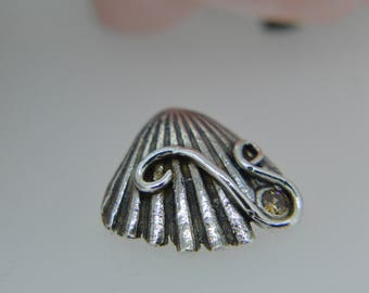 Silver Pendant, Silver Shell, Shell Necklace, Seashell, summer beach, Cubic Zirconia, Silver Seashell, Nature, Boho jewellery, Cz,