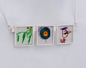 Childrens Drawing Necklace- Three Frame