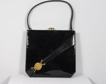 c1960s Vintage WALDYBAG Black Patent Leather Handbag, Ascot, Weddings, Christenings, Party HB16