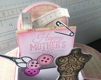 Mothers Day sewing themed pop up box card