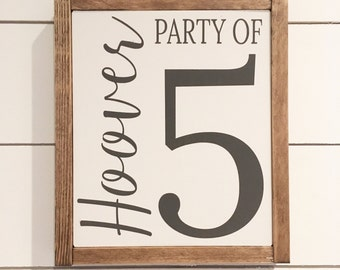 Party of family sign, Family name sign, family sign, hadgtag sign
