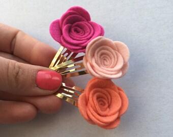 Felt Flower snap clip trio - gift sets for girls - fringe clips set - felt flowers - handmade hair accessories
