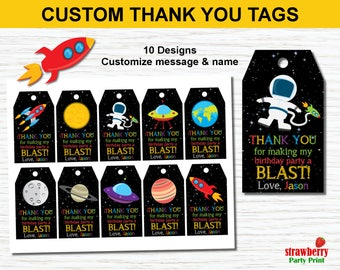 Outer Space Favor Tags. Outer Space Birthday Party Decoration. Space Party Printable. Rocket Ship Party. Custom Thank You Tags. Gift Tags