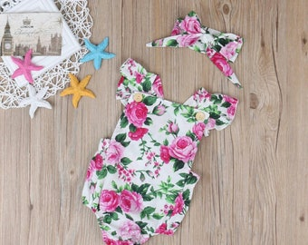 floral baby romper, floral design baby romper,  spring outfit romper,  summer outfit romper, floral pattern romper, baby romper and headband