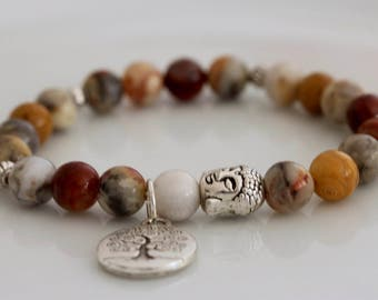 Crazy Lace Agate Chakra Bracelet, Yoga Jewelry, Tree of Life Pendant, Stretch Bracelet, New Age Jewelry, Yellow Gemstone Bracelet
