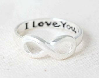 Silver Infinity I Love You Ring