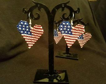 U.S Flag heart earrings