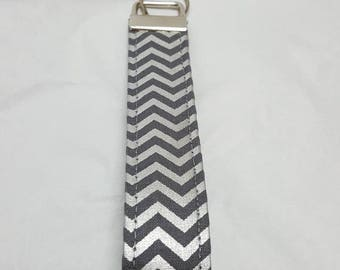 Silver and grey chevron key fob, key chain, wristlet