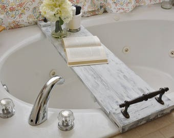 White Rustic Bath Tub Caddy/ Bath Tray/ Bath Caddy/ Farmhouse Bath Tray/ Rustic Tray/ White Tray