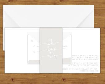 Subtle Powder White Belly Bands - Minimalist Wedding - White Wedding - Wedding Invitation Extras - Wedding Stationery