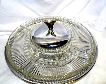 Kromex Lazy Susan, Glass and Chrome, Mid Century Divided Serving Tray