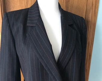 80's Vintage Saville Women's Double Breasted Blazer-Black w/Lt Blue & Red Pinstripes SZ 10