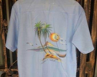 Vintage Hawaii tahiti shirt button down/blue/saiz 44/ beach view