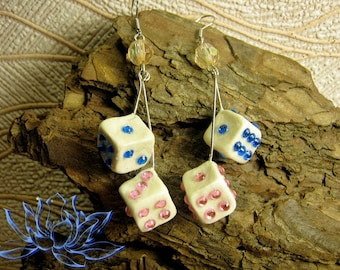 Earrings with dice, earrings with rhinestones, shiny earrings, with bones, earrings made of cold porcelain, polymer clay