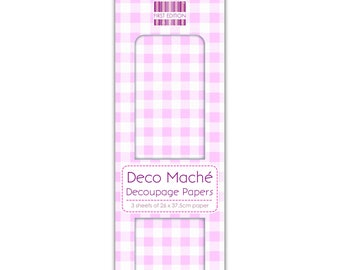 Pink Gingham Pattern Decoupage Papers x 3 - First Edition