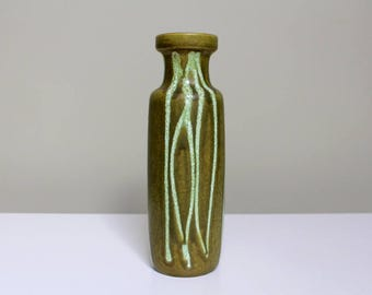 Scheurich 200-28: Vintage West German Ceramic Vase from the Fat Lava Era in Green and White Glaze - UK Seller