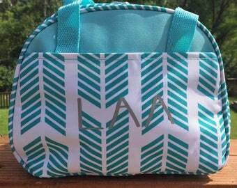 Turquoise lunchbag,chevron lunchbag,arrow lunchbag,insulated lunchbag,bottle bag,personalize lunch bag,drink holder,school lunch bag