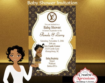 Designer Baby Invitation, Designer Baby Shower Invitation, Digital File, Baby Shower Invitation