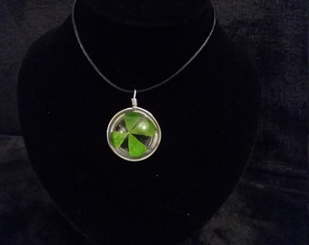 Lucky Four Leaf Clover Spherical Glass Pendant With Necklace