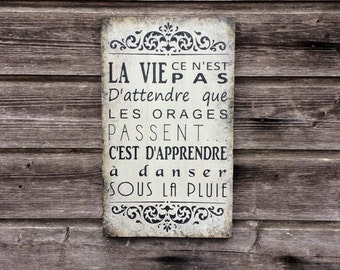 Wood wall decor / French quote / French decor / Life quote / Quote sign / 42cmx25cm