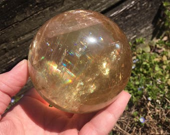 Optical Honey Calcite sphere - Large
