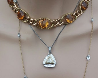 14k Gold Citrine Necklace 75.6 Grams