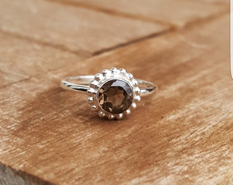 Solid sterling silver ring with smoky quartz ring size EU 55 / ring size US 7