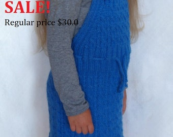 SALE! - Blue knitted sundress for girls