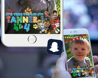 Paw Patrol Birthday Party Snapchat Filter - Bunting Banners Red Yellow Green Blue - On Demand Geofilter Designs - SALE PRICE!