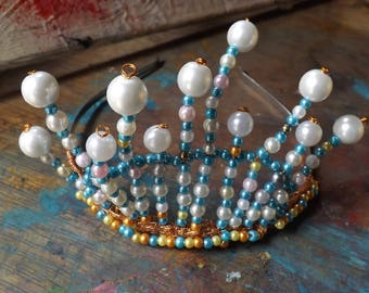 The Under The Sea Tiara! waving fronds of pearl beads. A delightful confection for a wedding or party.
