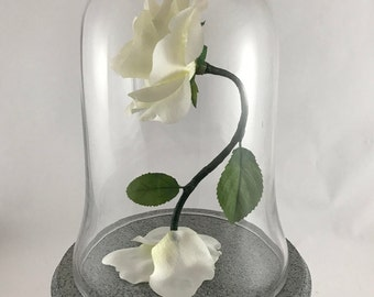 White Wedding Centerpiece Life Size Enchanted Rose Extended Base Inspired by Beauty and the Beast