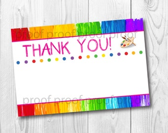 Painting Art Birthday Party Thank You Card Digital Download