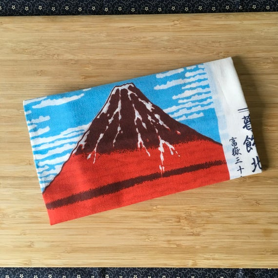 Kendo Tenugui, Japanese Cotton Tenugui - Mt. Fuji Woodblock Print from Kendo Girl