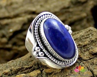 lapis lazuli silver ring, big lapis stone ring, afghani lapis jewelry, lapis lazuli jewellery, oval cab stone ring, wedding ring, officewear