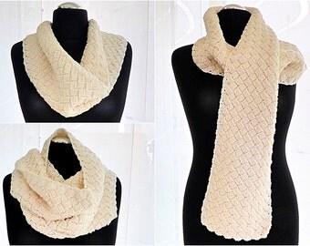 """PDF: Scandinavian Winter Scarf """"Hygge"""" - Crochet Pattern"""