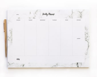 Weekly Planner Pad - Marble Desk Pad - A4 - Daily Planner - Stationary Gift - 50 Tear-off pages