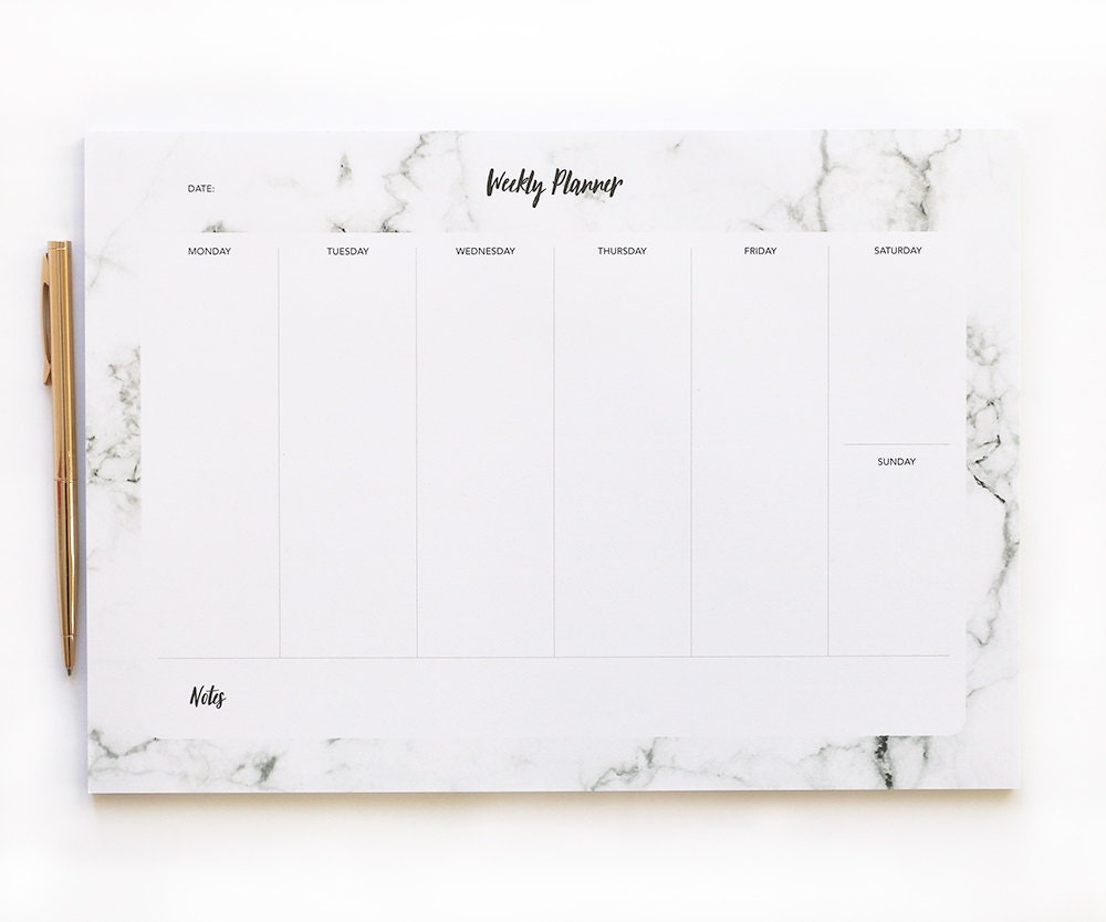 Weekly Planner Pad Marble Desk Pad A4 Daily By Blossomstudiouk