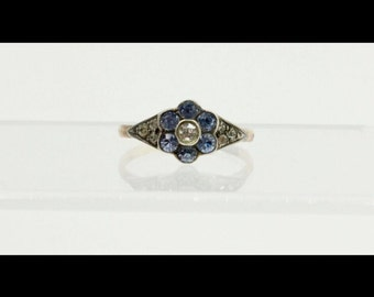 Antique English 9K Gold and Paste Flower Ring