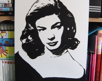 "Lauren Bacall ""The Look"" portrait original painting stencil feminist women"