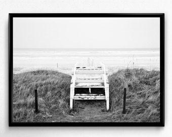 Beach Print, Beach Photo, Ocean Print, Nature Print, Black and White Art, Beach Prints, Ocean Photo, Digital Download, Digital Print