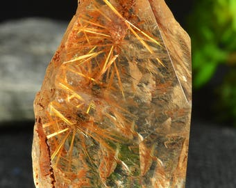 Rare Natural Clear Gold Flower Rutilated Quartz Polished Freeform Quartz Point/Beautiful Scenic included/special gift-52*38*22mm47g
