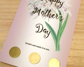 Mother's Day Card. Scratch Card. Funny Card