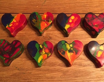Multicoloured Rainbow Valentine Chunky Crayon Heart for Children