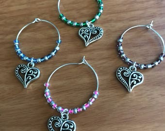 Heart wine glass charms (set of 4)