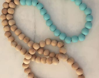 Long Wood Bead Necklace-robin egg blue necklace-summer necklace-aqua blue necklace-blue beads-aqua beads-long necklace